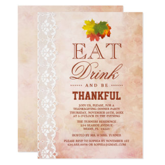 Chic Vintage Lace Fall Foliage Thanksgiving Invite カード