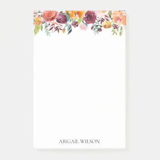 Chic Watercolor Floral Personalized ポストイット