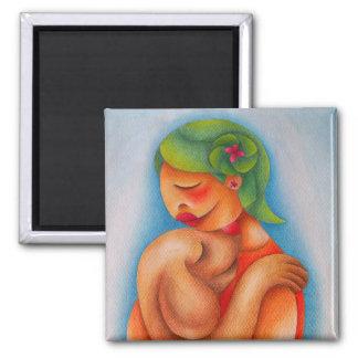 Chica y suのperroのacuarelaのy lapizz de colorのarte マグネット