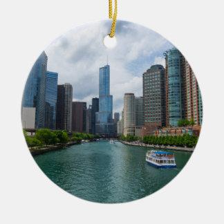 Chicago川および切札タワー セラミックオーナメント