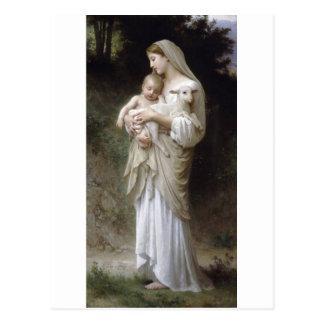Child Lamb Bouguereauの潔白の女性 ポストカード