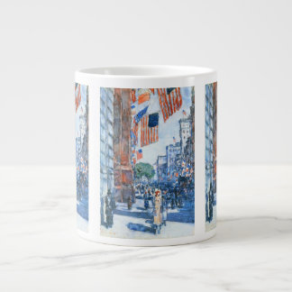 Childe Hassamのヴィンテージの芸術著旗の五番街 ジャンボコーヒーマグカップ