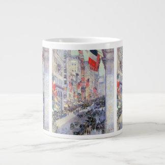 Childe Hassam著第34通りからの道の上 ジャンボコーヒーマグカップ