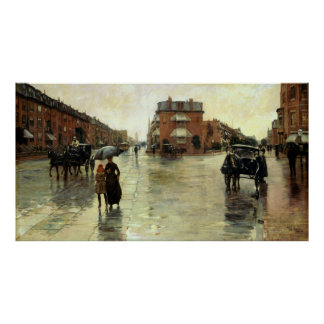 Childe Hassam -雨の日、ボストン ポスター