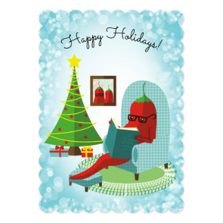 Chile chili pepper reading culinary Christmas card カード