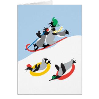ChillinのおもしろいのペンギンのSledding! カード
