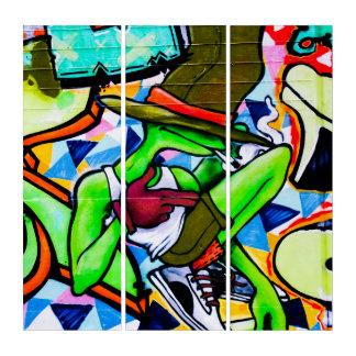 Chillinのカエルの通りの芸術の落書きのAcylicのトリプティク トリプティカ