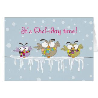 Chillinのフクロウのクリスマスの休日の挨拶状 カード