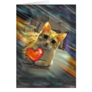 Chillin猫の点滅のハートの挨拶状 カード