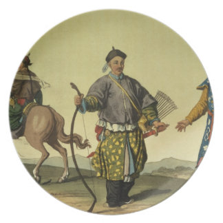 Chingのmilitaからのモンゴル人8の旗の兵士 プレート