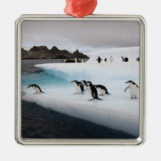 chinstrapのペンギン、Pygoscelis南極大陸、2 メタルオーナメント
