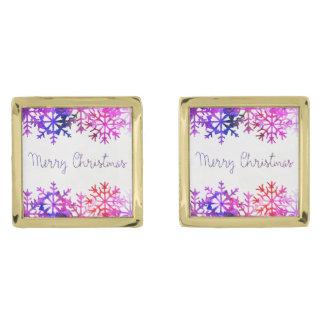 Chistmasの紫色およびピンクのメリーな雪片 ゴールド カフスボタン