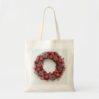 Chistmas wreath Pink &Red Bag トートバッグ