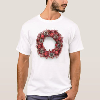 Chistmas wreath Pink &Red Tshirt Tシャツ