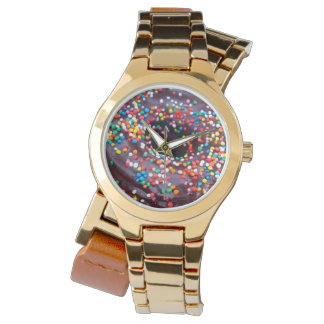 Chocolate_Donut_Ladies_Gold_Wrap_Watch. 腕時計
