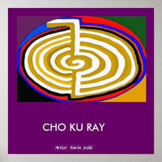 CHOKURAYの金の基本的な霊気の記号 ポスター