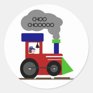 Choo Chooの列車のTシャツおよびギフト ラウンドシール