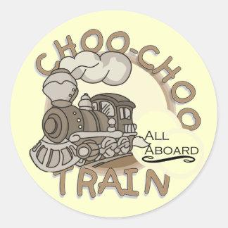 Choo-Chooの列車のTシャツおよびギフト ラウンドシール