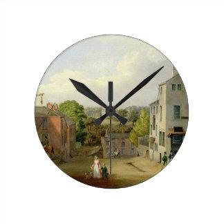 Chorley、眺めoのLancashireの通り場面、 ラウンド壁時計