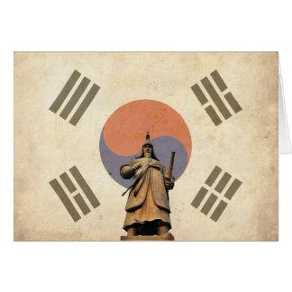 Chosuneseの旗が付いているすぐに海軍大将のイ向こうずねの彫像 カード
