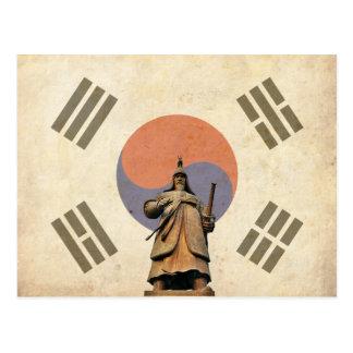 Chosuneseの旗が付いているすぐに海軍大将のイ向こうずねの彫像 ポストカード