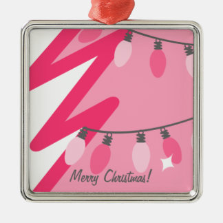 Chrismasピンクのライトが付いているピンクのクリスマスツリー メタルオーナメント