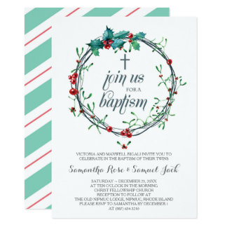 Christmas Baptism Invitation Template カード