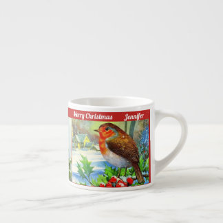 Christmas Birds Child's Cup Cocoa Personalize NAME エスプレッソカップ