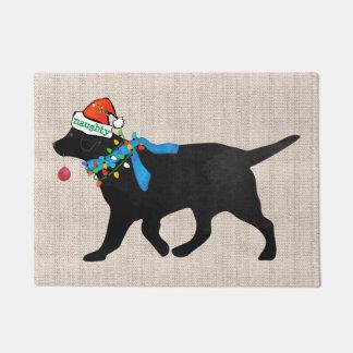 Christmas Black Lab Naughty Tan Burlap ドアマット