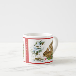 Christmas Bunnies Child's Cup Personalize NAME エスプレッソカップ