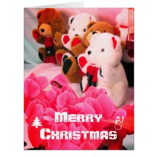 Christmas card:Flowers & Bear stuffed カード