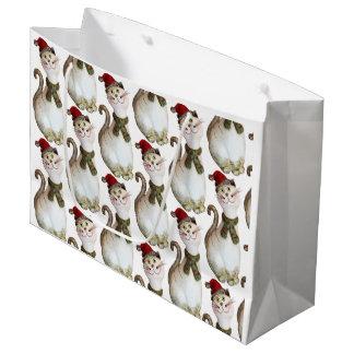 Christmas Cat Gift Bag ラージペーパーバッグ