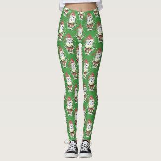 Christmas cow pattern green  leggings レギンス