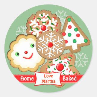 Christmas Cute Cookies On Plate Custom Stickers ラウンドシール