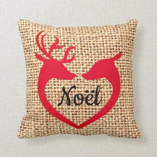 Christmas Deer Heart Burlap Jute Noel Pillow クッション