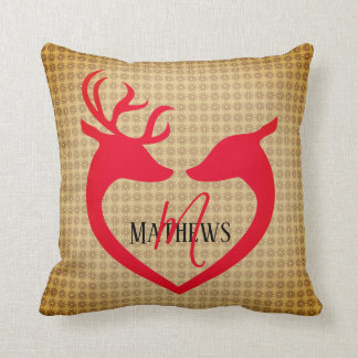 Christmas Deer Heart Vintage Name Monogram Pillow クッション