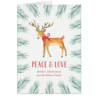 Christmas Deer Holiday Greeting Card カード