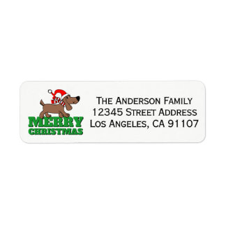 Christmas Doggie Return Address Labels ラベル
