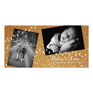 Christmas Gold Glam Glitter Peace Love Photo Card カード