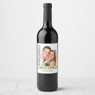 Christmas Greetings Green Red Holiday Wine Labels ワインラベル
