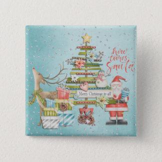 Christmas Holiday - Here Comes Santa 5.1cm 正方形バッジ
