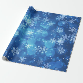 Christmas Holiday Sparkles & Snowflakes Blue ラッピングペーパー