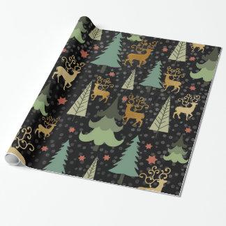 Christmas Holiday - Trees & Deer on Black ラッピングペーパー