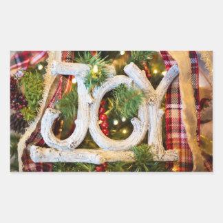 Christmas Joy Rustic Stickers 長方形シール