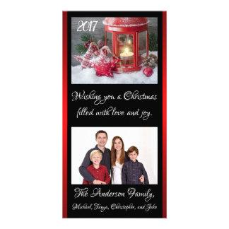 Christmas Lantern Family Photo Card Year Names カード