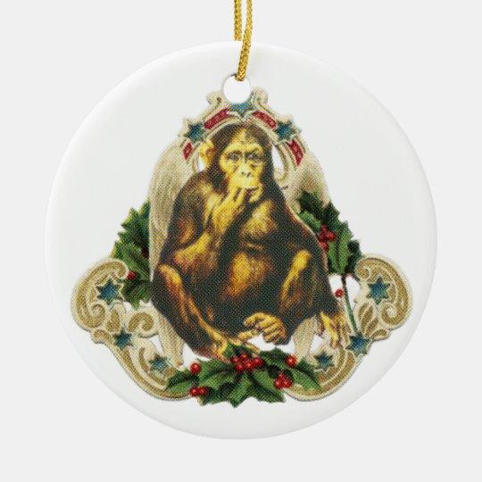 Christmas monkey セラミックオーナメント