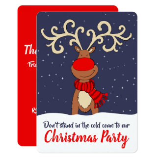 Christmas party reindeer come in invitations カード