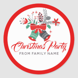 Christmas Party Typography & Bells Bouquet ラウンドシール