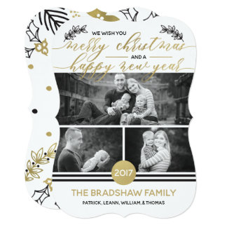 Christmas Photo Card, Faux Gold Foil カード