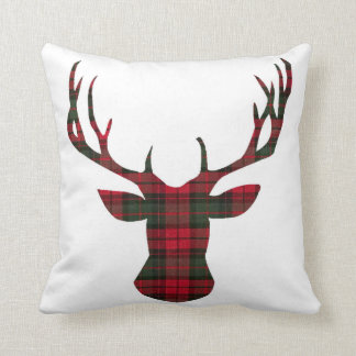 Christmas Plaid Deer head Holidays Pillow クッション